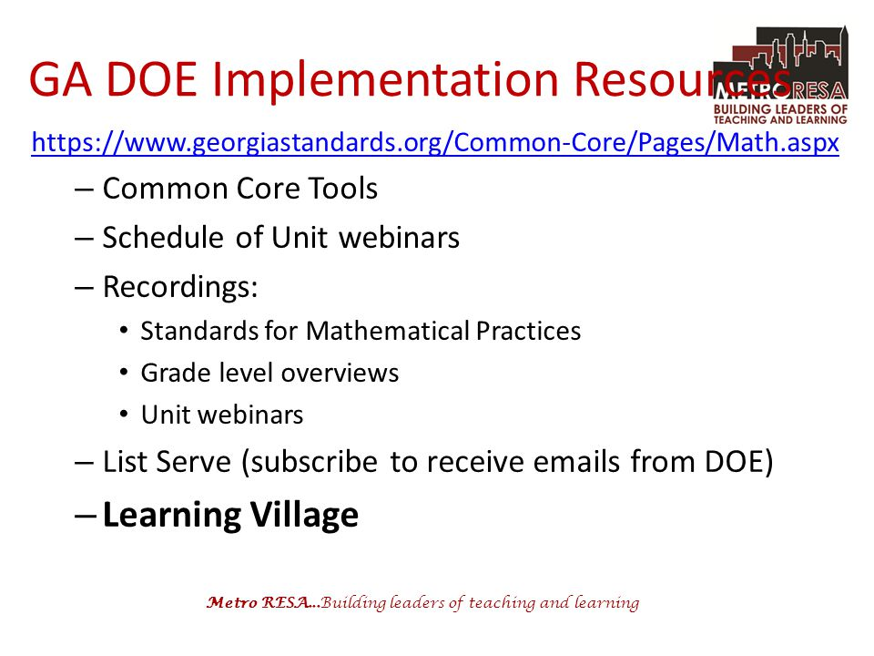 GA DOE Implementation Resources
