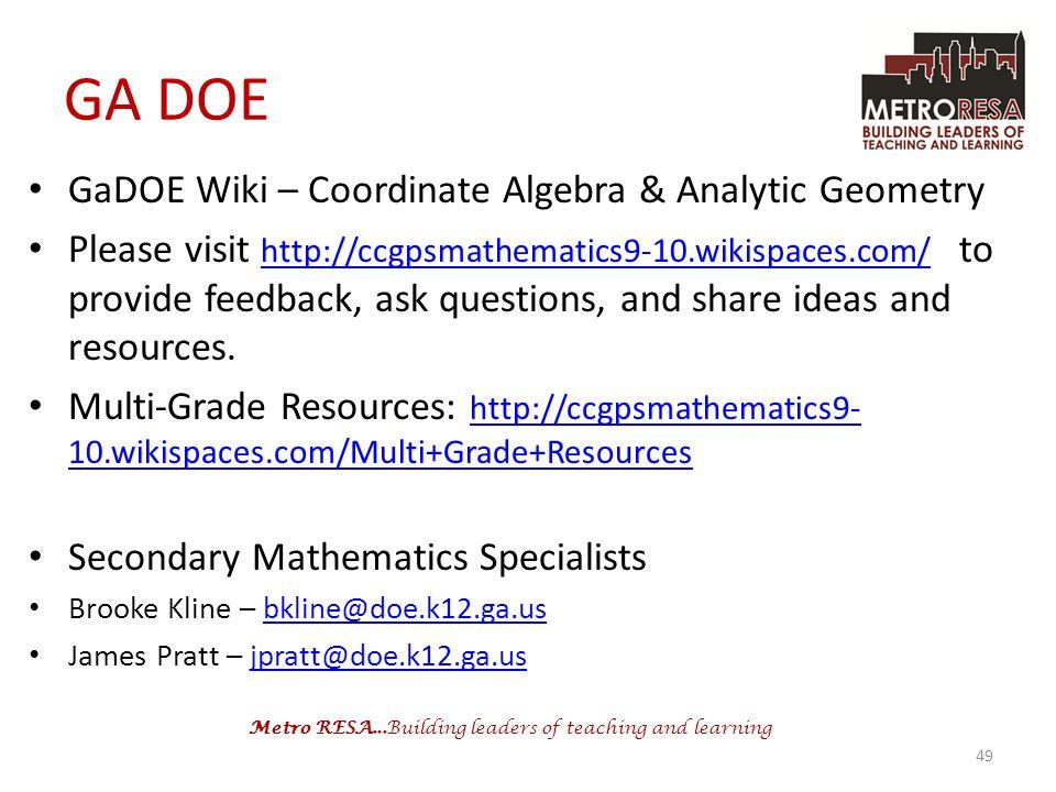 GA DOE GaDOE Wiki – Coordinate Algebra & Analytic Geometry