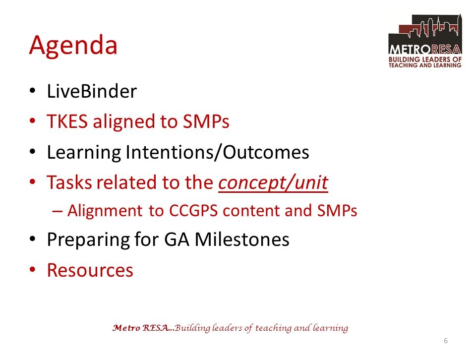 Agenda LiveBinder TKES aligned to SMPs Learning Intentions/Outcomes