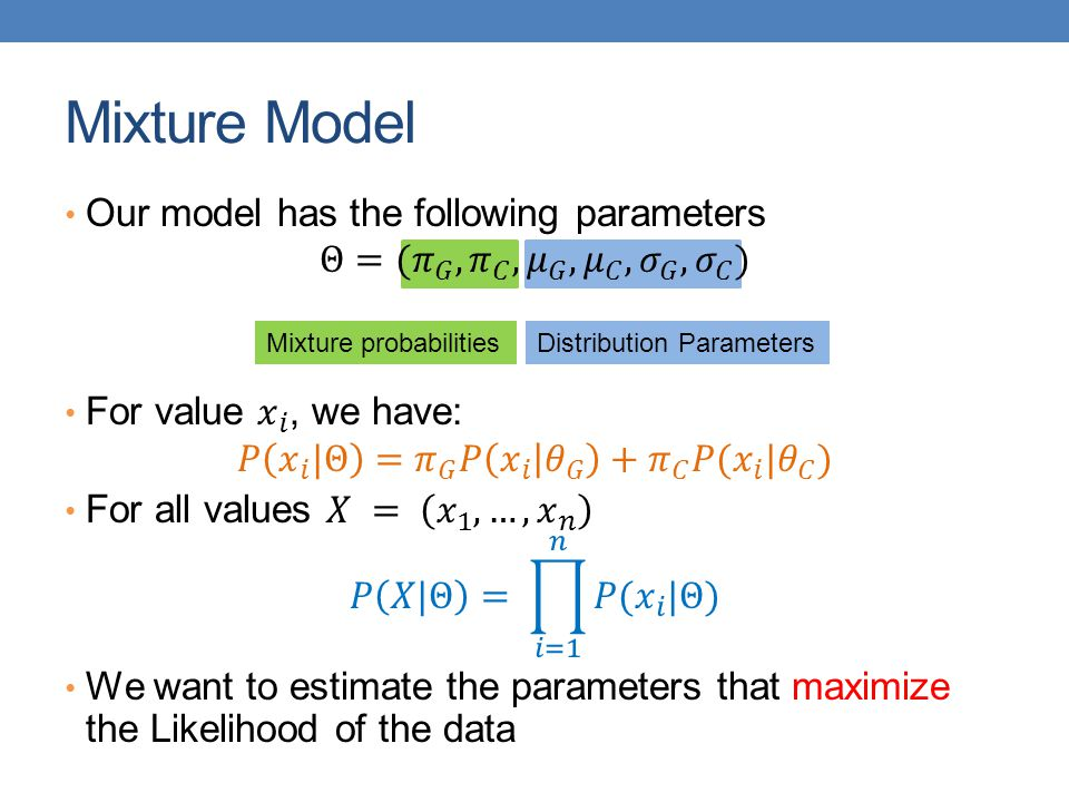 Mixture Model Our model has the following parameters