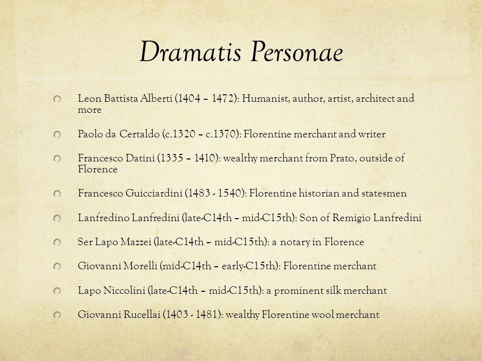 Dramatis Personae Leon Battista Alberti (1404 – 1472): Humanist, author, artist, architect and more.