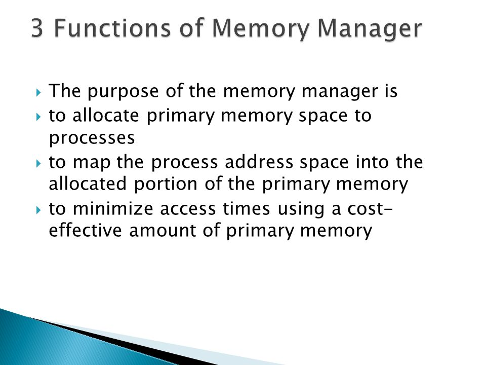 3 Functions of Memory Manager
