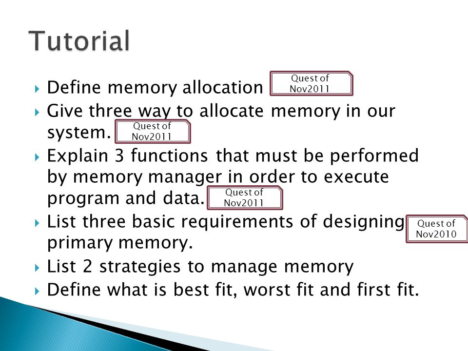 Tutorial Define memory allocation