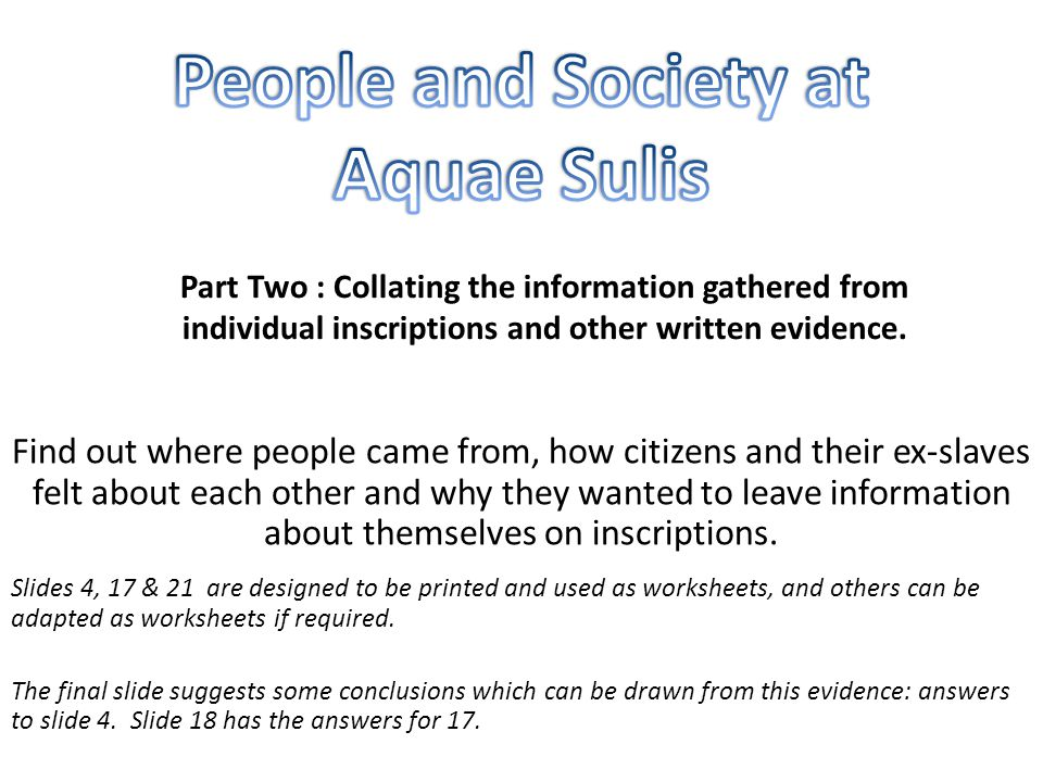 People and Society at Aquae Sulis