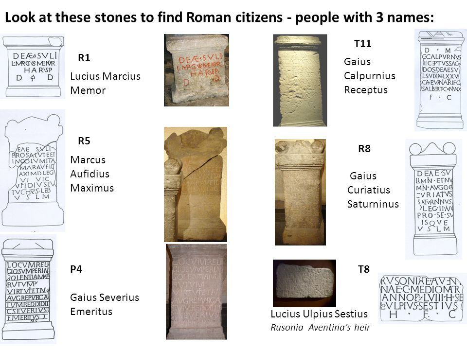 Look at these stones to find Roman citizens - people with 3 names: