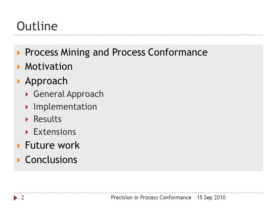 Outline Process Mining and Process Conformance Motivation Approach