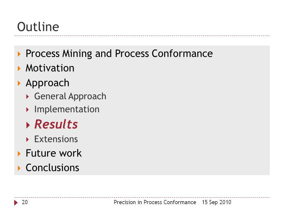 Outline Results Process Mining and Process Conformance Motivation
