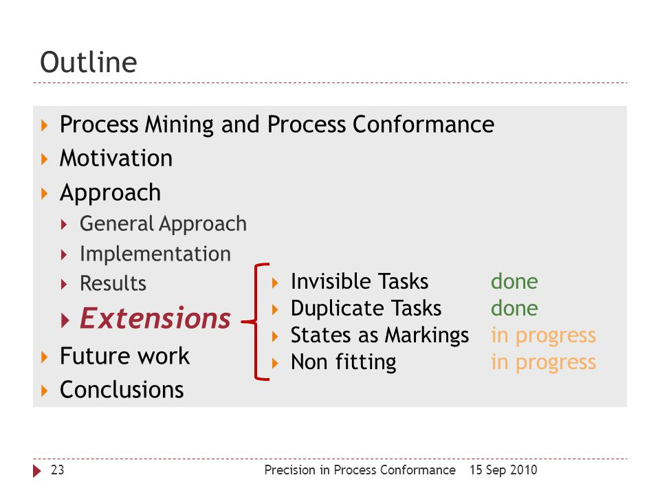 Outline Extensions Process Mining and Process Conformance Motivation