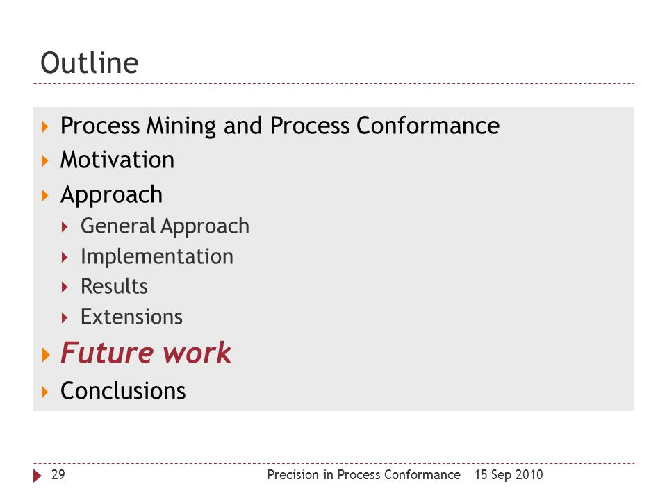 Outline Future work Process Mining and Process Conformance Motivation