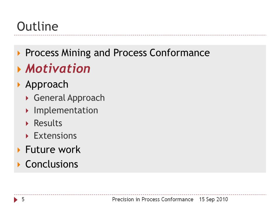 Outline Motivation Process Mining and Process Conformance Approach