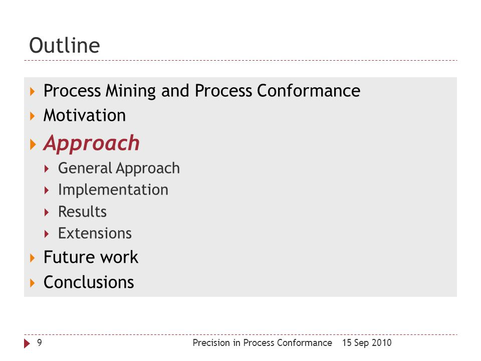 Outline Approach Process Mining and Process Conformance Motivation