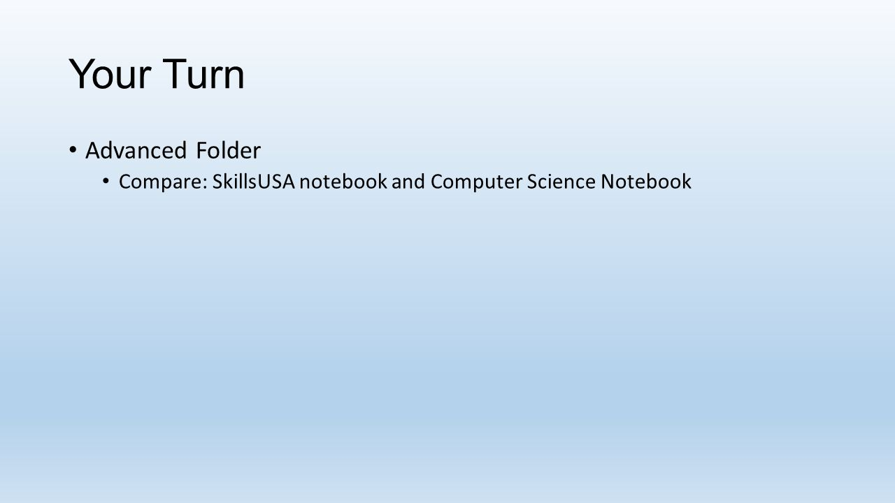 Your Turn Advanced Folder