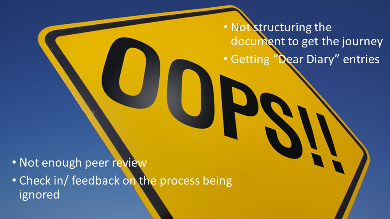 Not structuring the document to get the journey