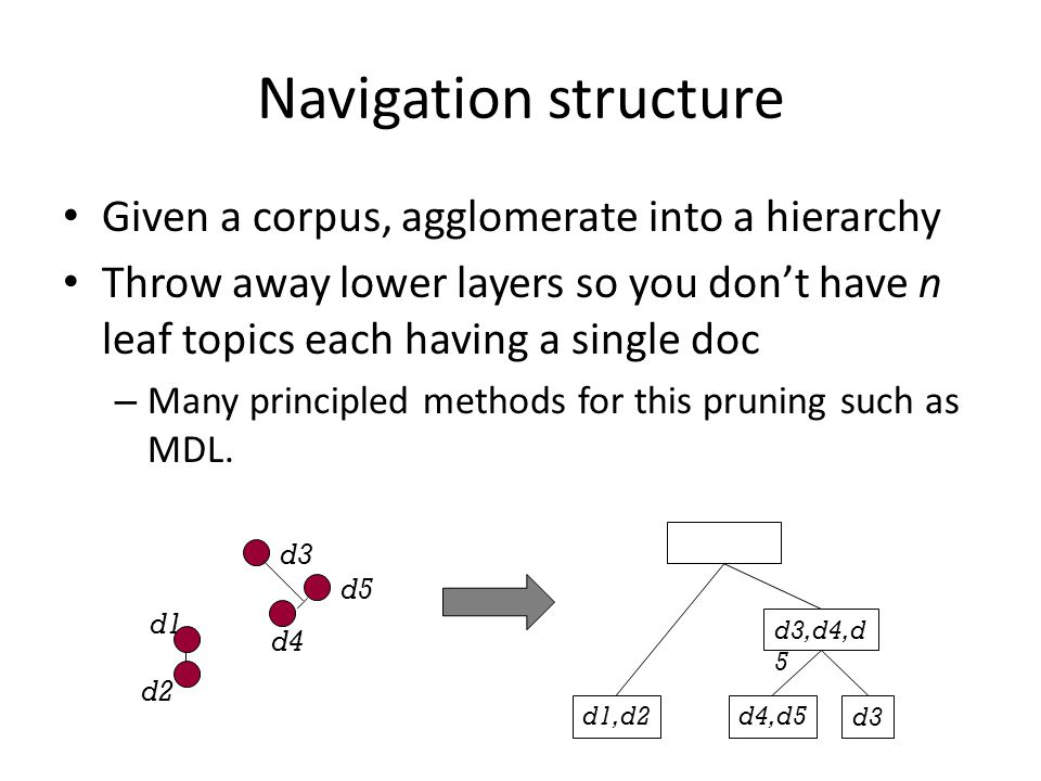 Navigation structure Given a corpus, agglomerate into a hierarchy
