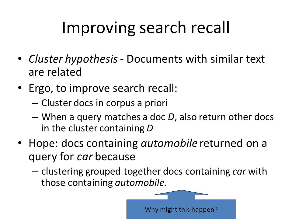 Improving search recall