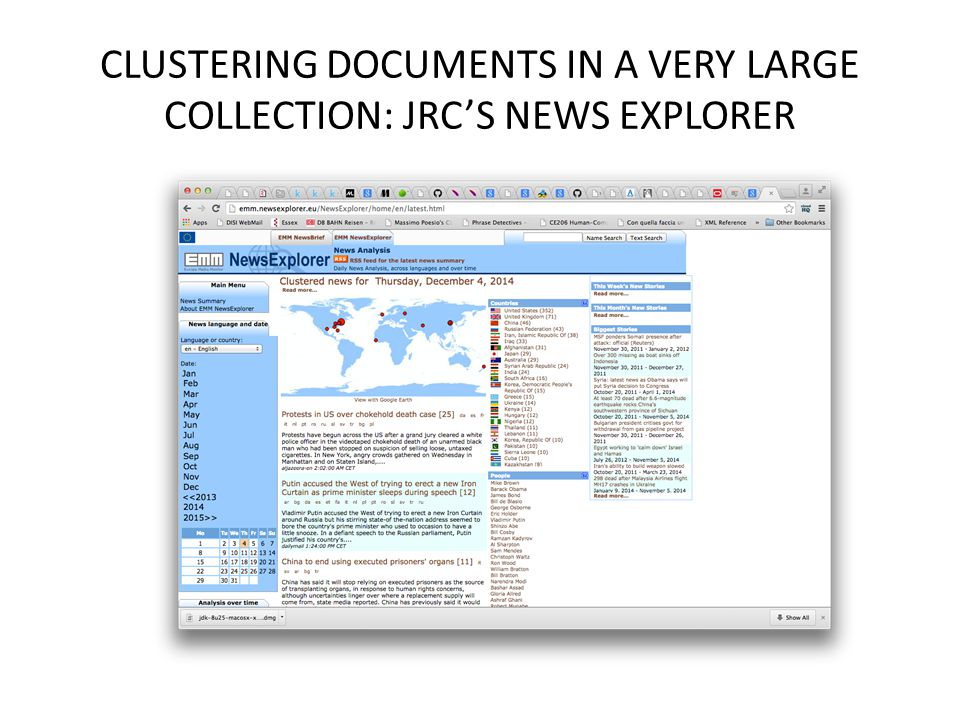 CLUSTERING DOCUMENTS IN A VERY LARGE COLLECTION: JRC'S NEWS EXPLORER