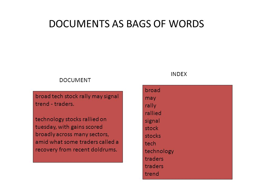 DOCUMENTS AS BAGS OF WORDS