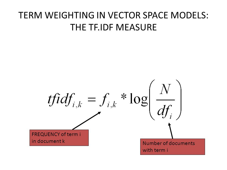 TERM WEIGHTING IN VECTOR SPACE MODELS: THE TF.IDF MEASURE