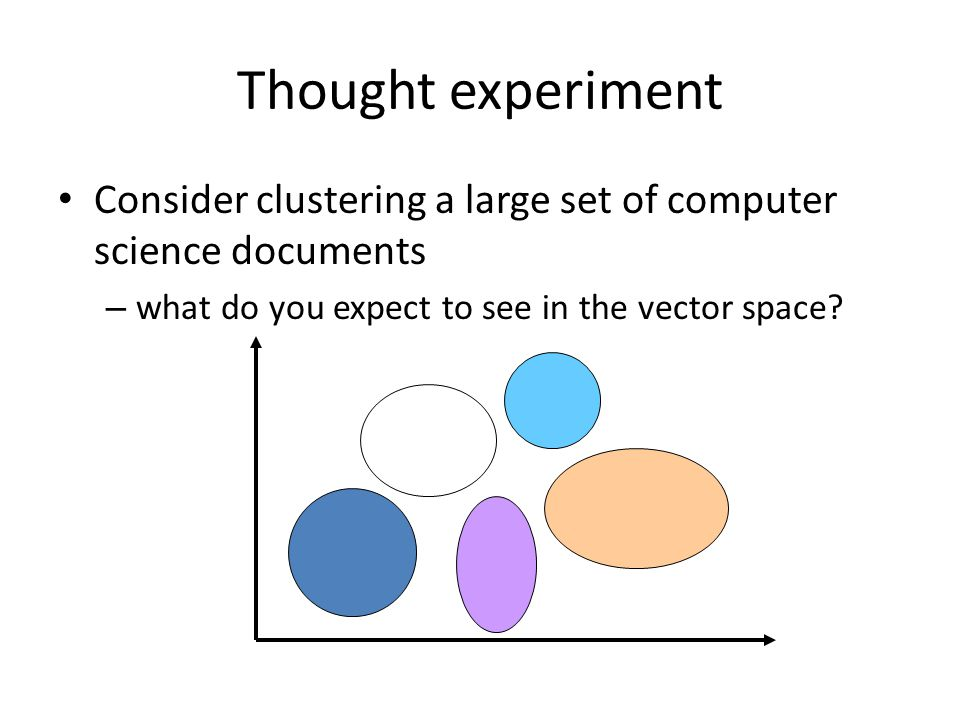 Thought experiment Consider clustering a large set of computer science documents.