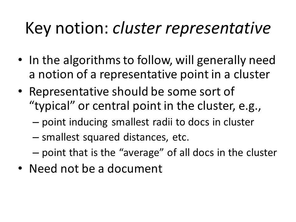 Key notion: cluster representative