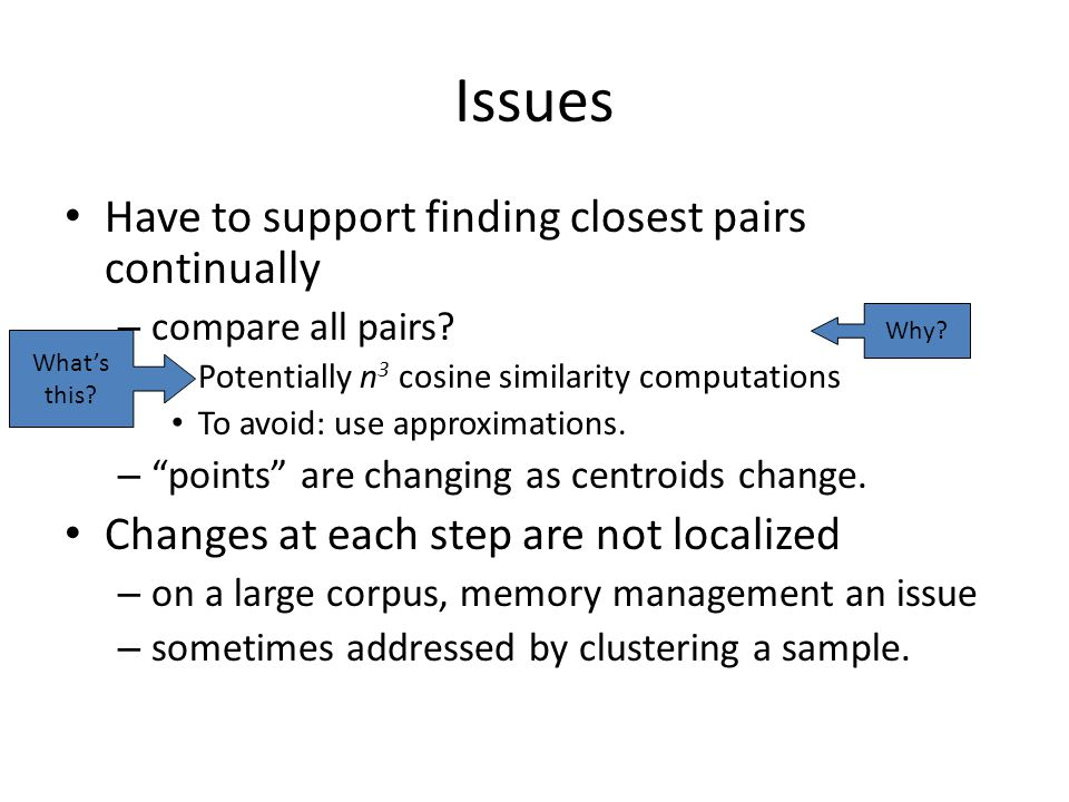 Issues Have to support finding closest pairs continually