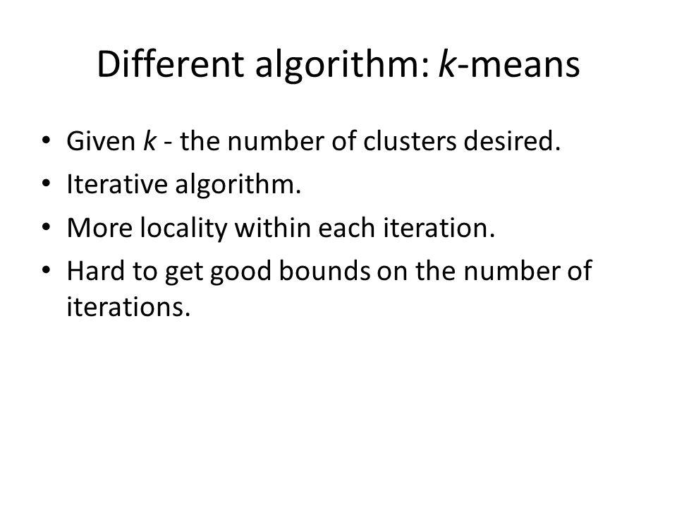 Different algorithm: k-means