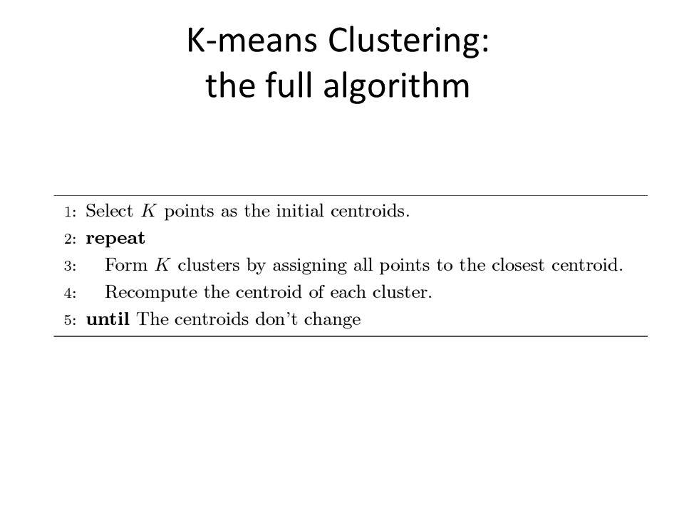 K-means Clustering: the full algorithm
