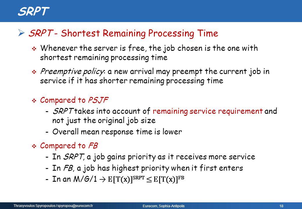SRPT SRPT - Shortest Remaining Processing Time