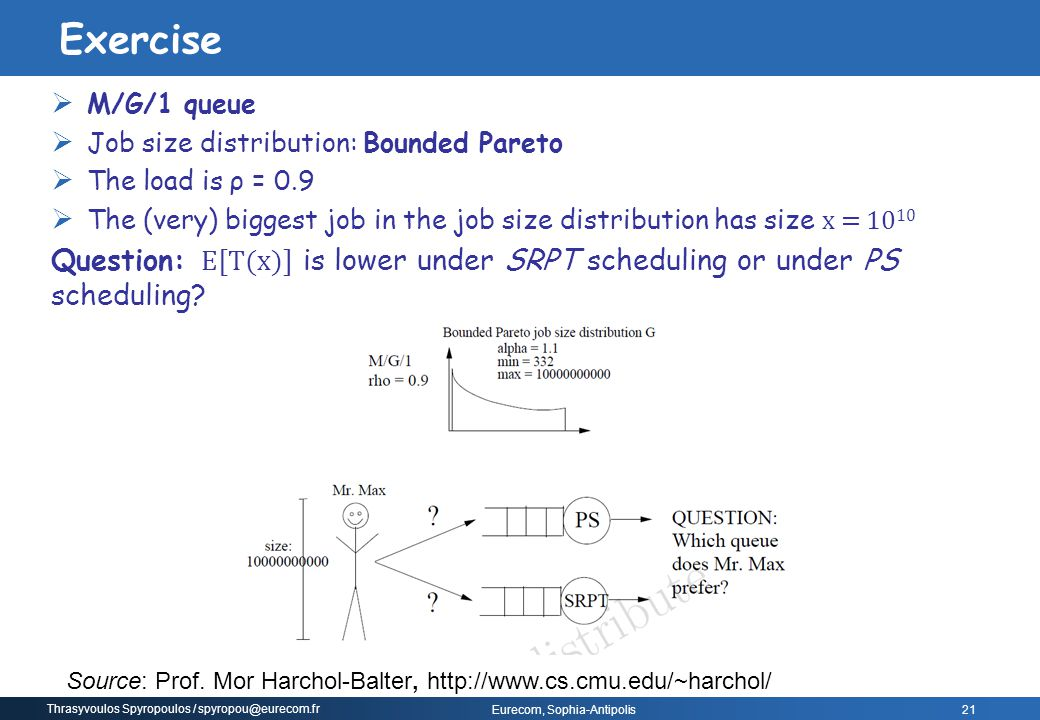 Exercise M/G/1 queue. Job size distribution: Bounded Pareto. The load is ρ = 0.9.