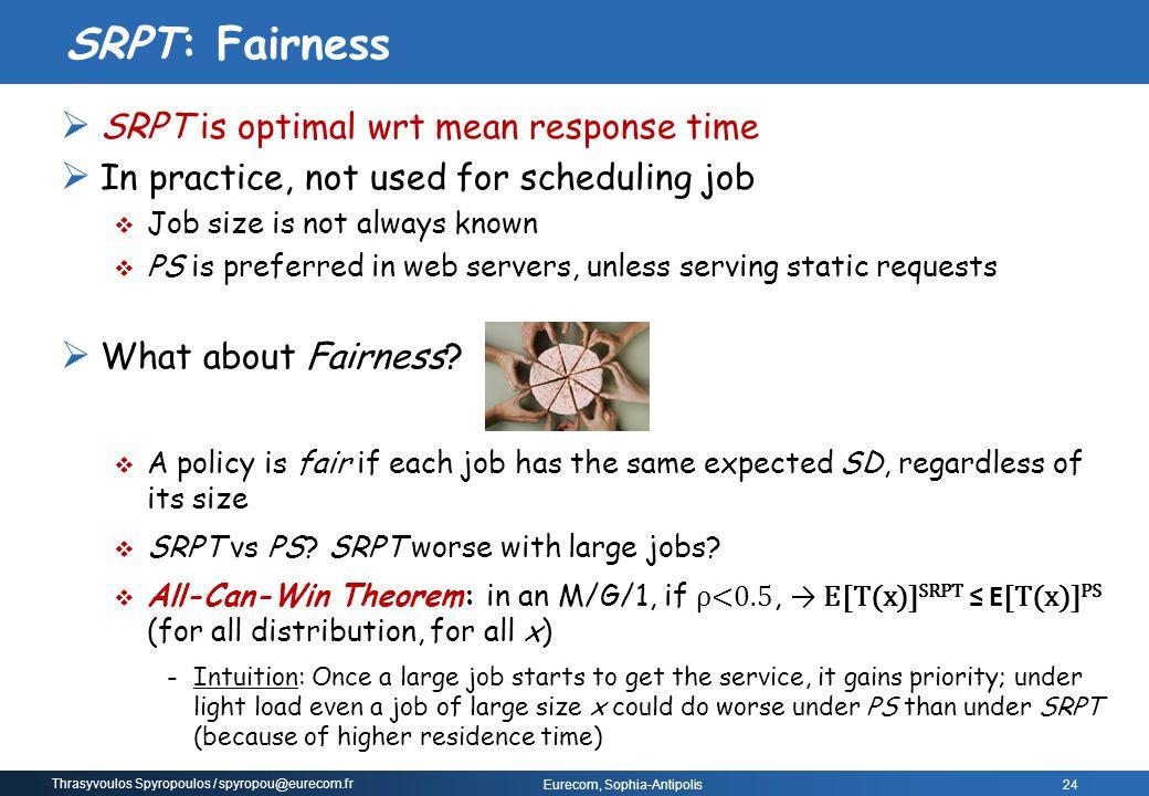 SRPT: Fairness SRPT is optimal wrt mean response time