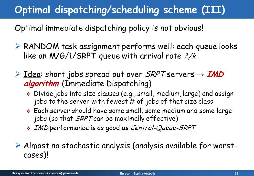 Optimal dispatching/scheduling scheme (III)