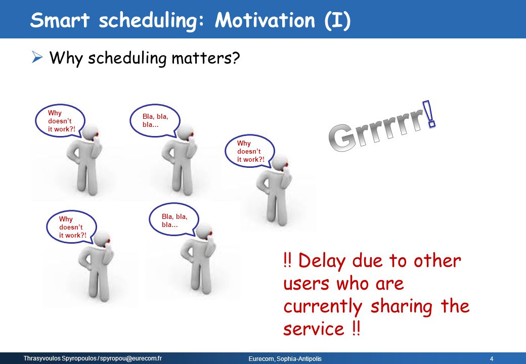 Smart scheduling: Motivation (I)
