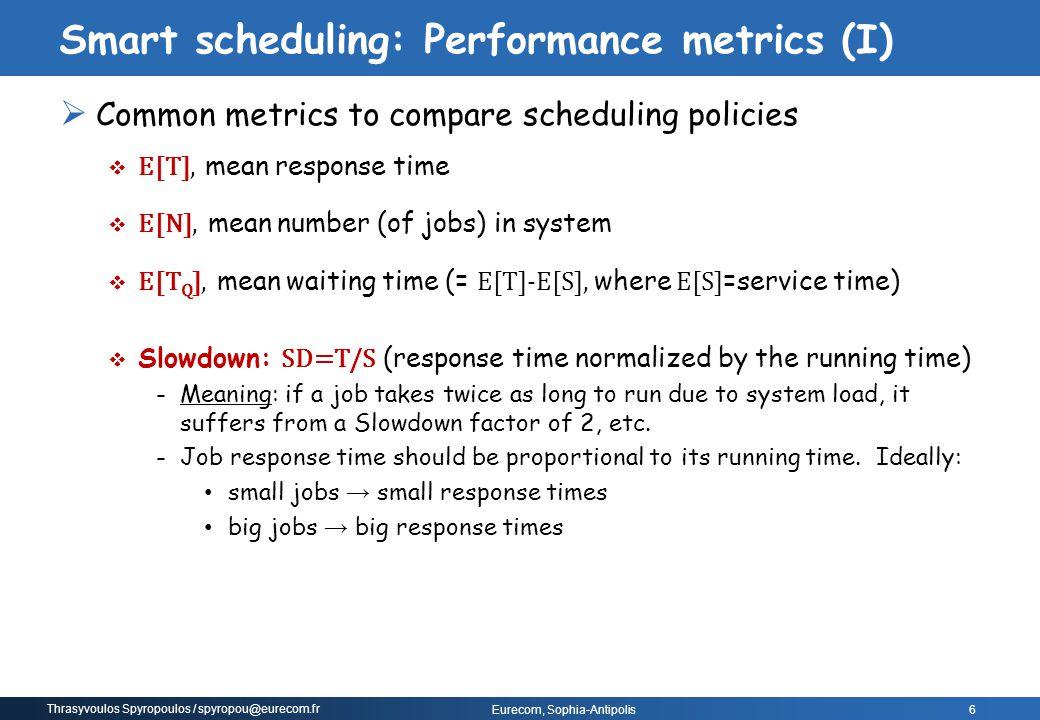 Smart scheduling: Performance metrics (I)