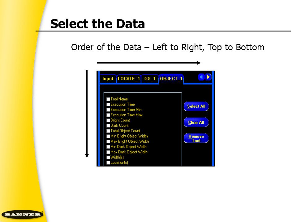 Select the Data Order of the Data – Left to Right, Top to Bottom