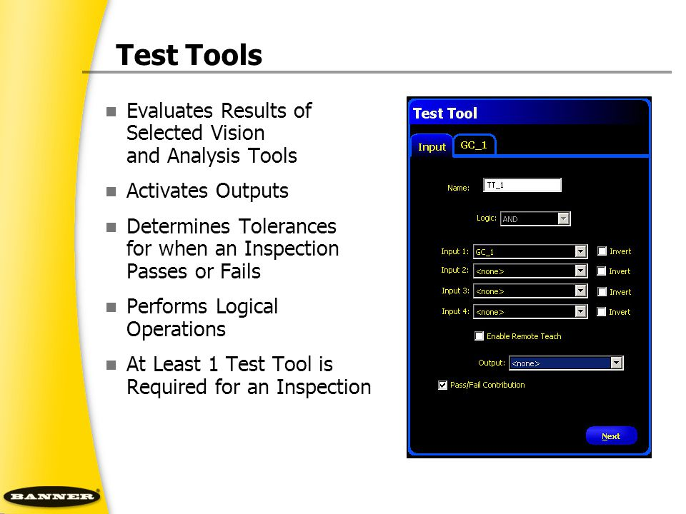 Test Tools Evaluates Results of Selected Vision and Analysis Tools