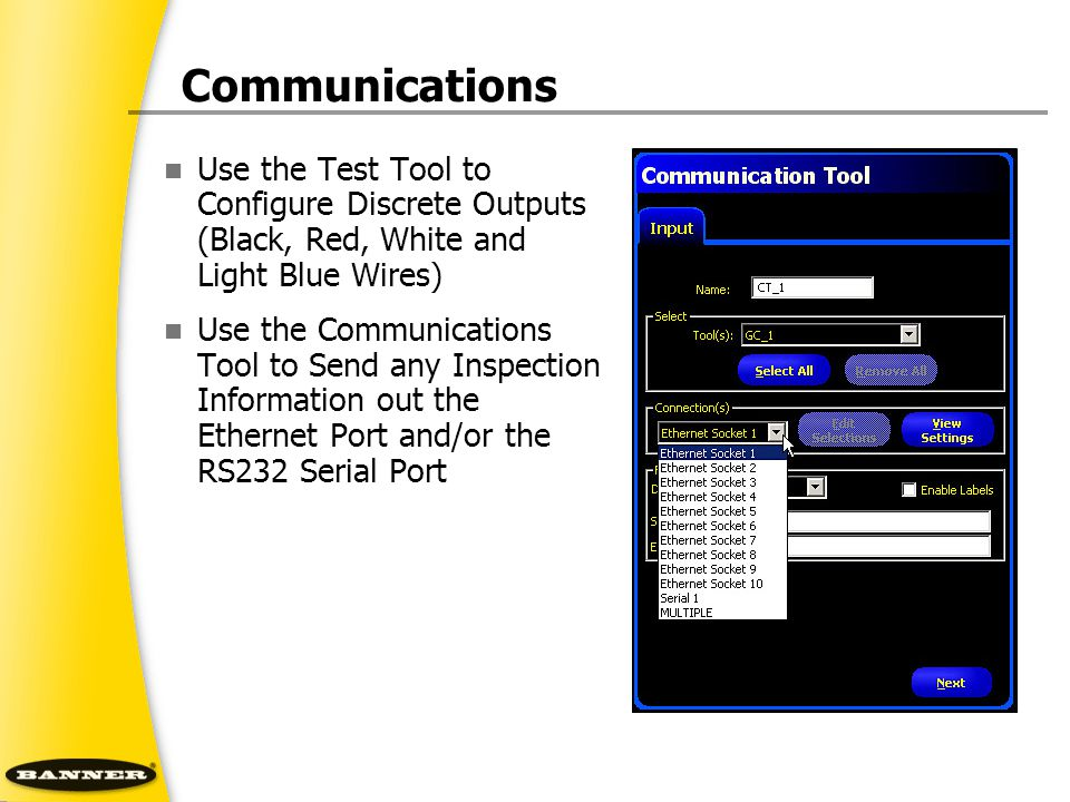 Communications Use the Test Tool to Configure Discrete Outputs (Black, Red, White and Light Blue Wires)