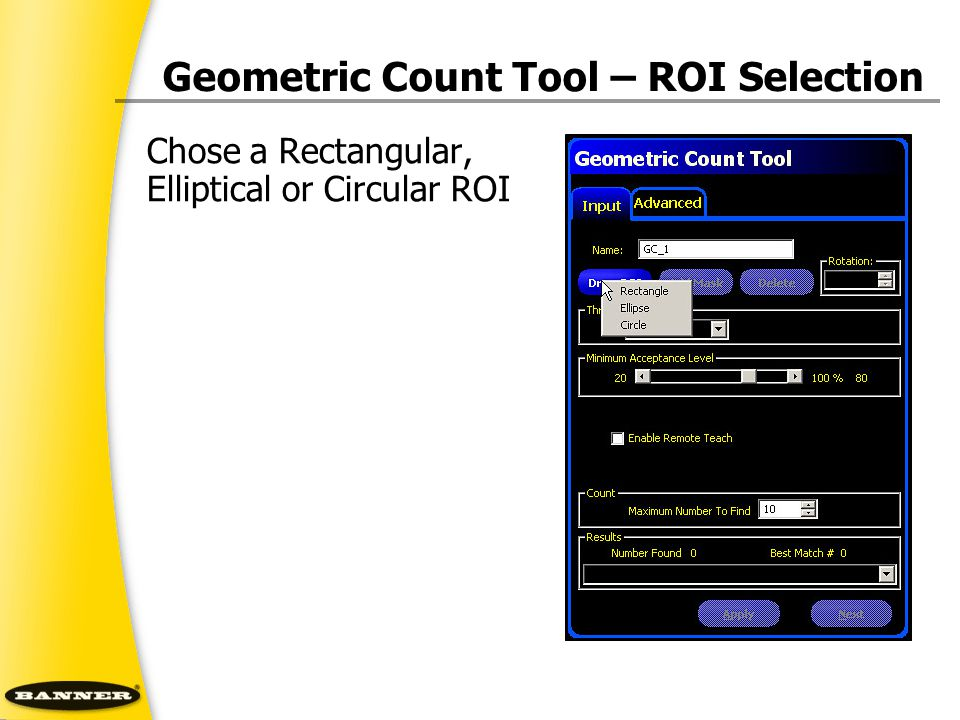 Geometric Count Tool – ROI Selection