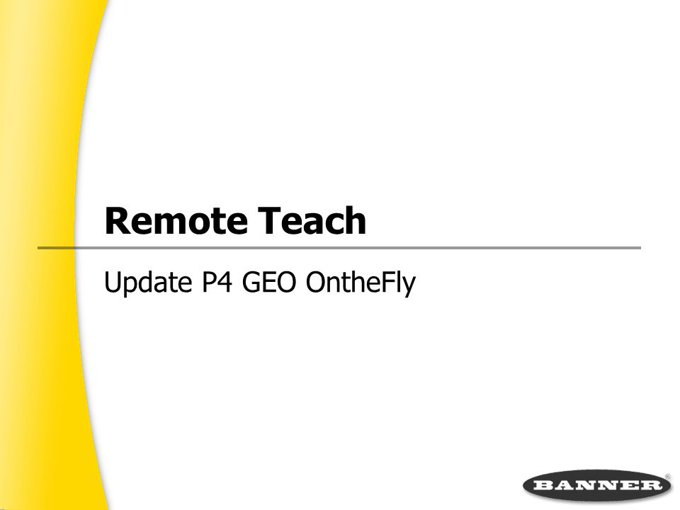 Update P4 GEO On­the­Fly