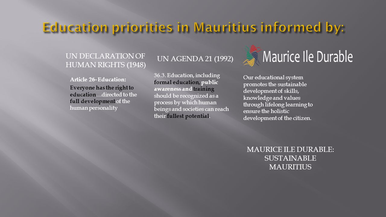 Education priorities in Mauritius informed by: