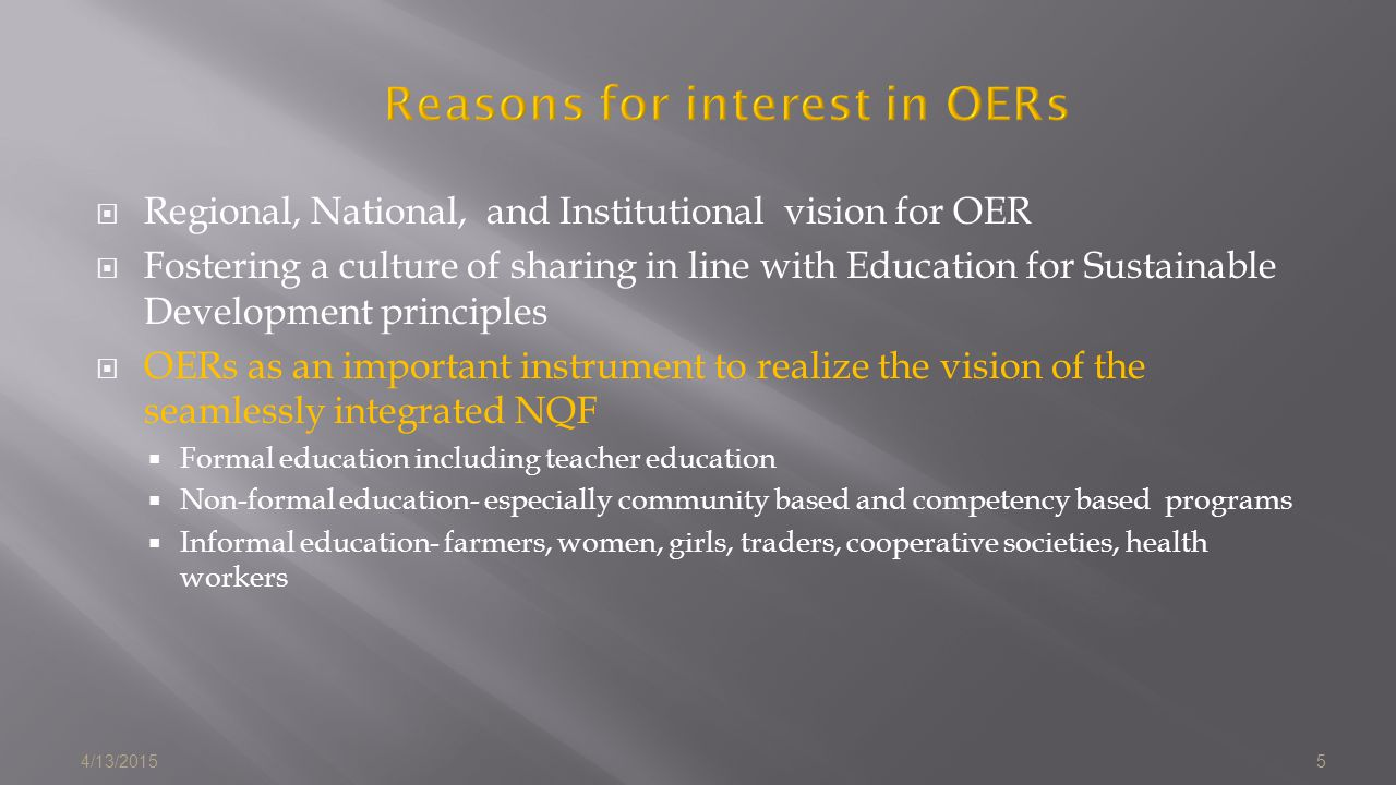 Reasons for interest in OERs