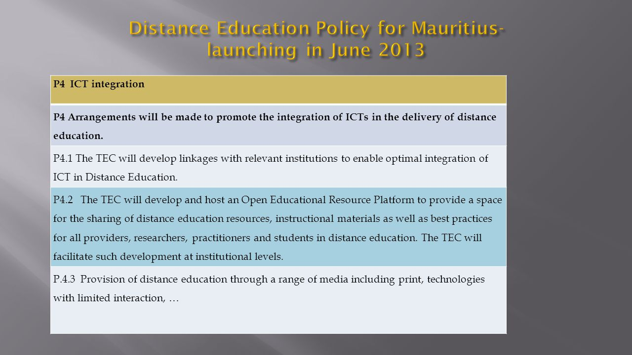Distance Education Policy for Mauritius- launching in June 2013