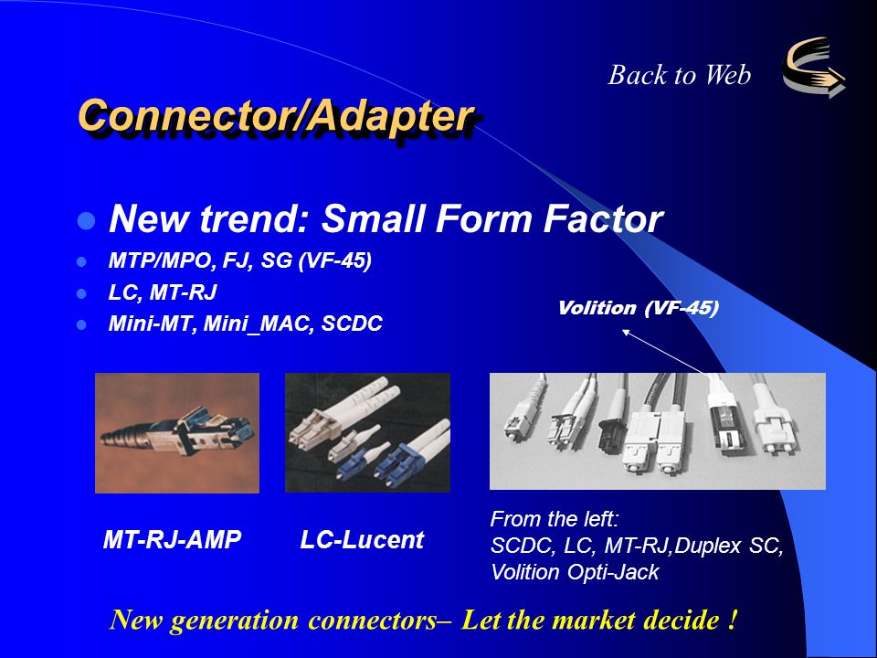 Connector/Adapter New trend: Small Form Factor Back to Web