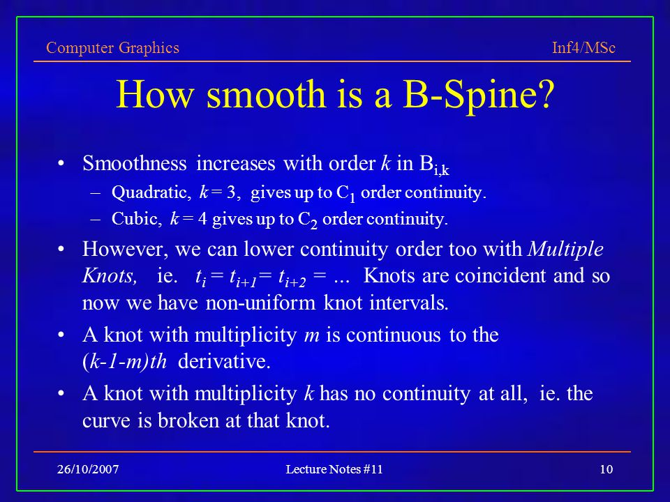 How smooth is a B-Spine Smoothness increases with order k in Bi,k