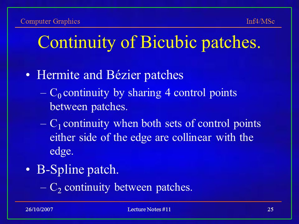 Continuity of Bicubic patches.