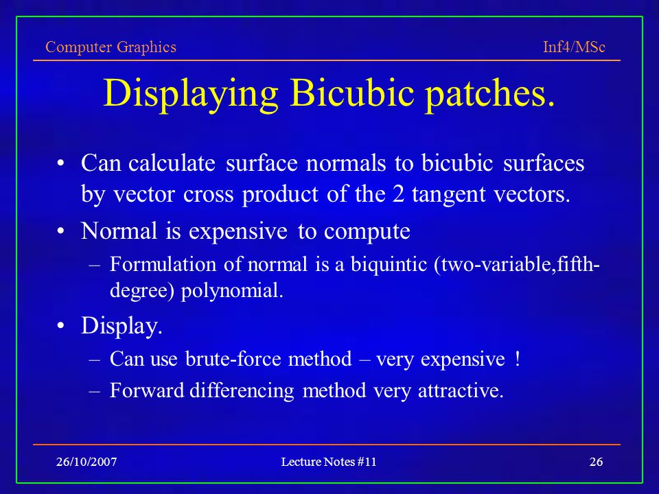 Displaying Bicubic patches.