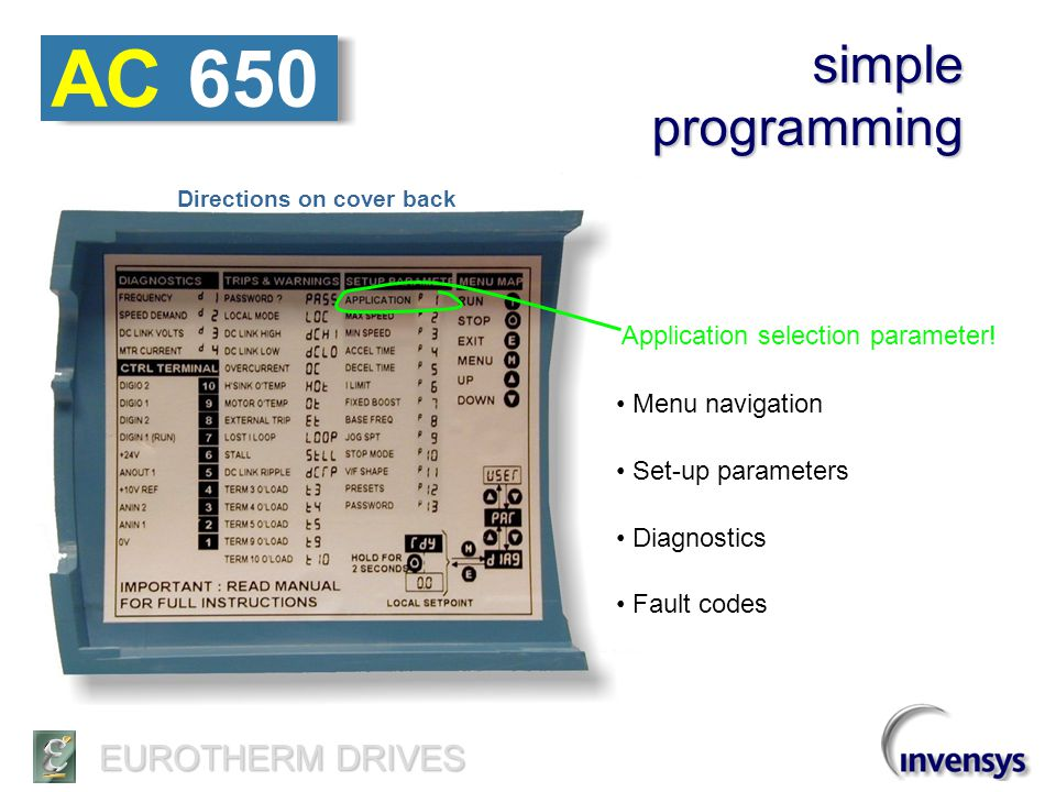 AC 650 simple programming Application selection parameter!