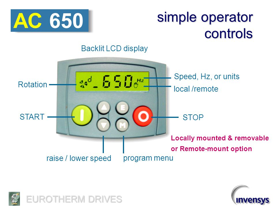 AC 650 simple operator controls Backlit LCD display