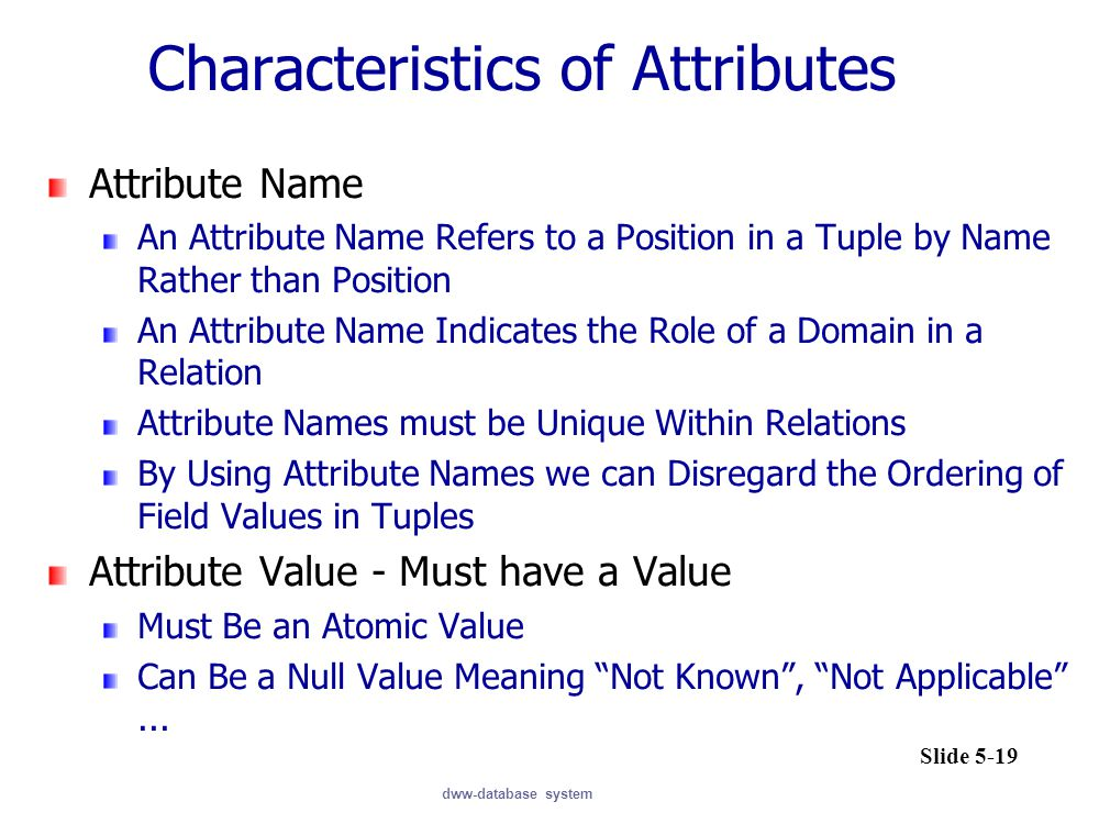 Characteristics of Attributes