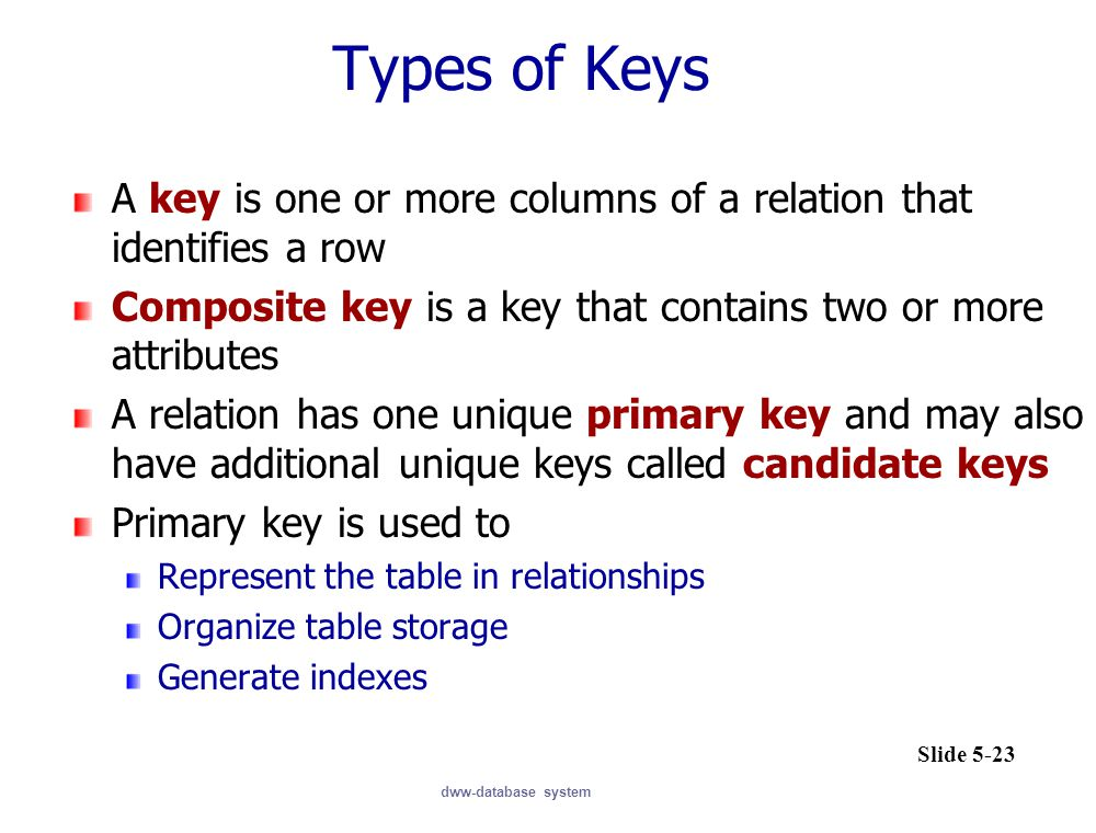 Types of Keys A key is one or more columns of a relation that identifies a row. Composite key is a key that contains two or more attributes.