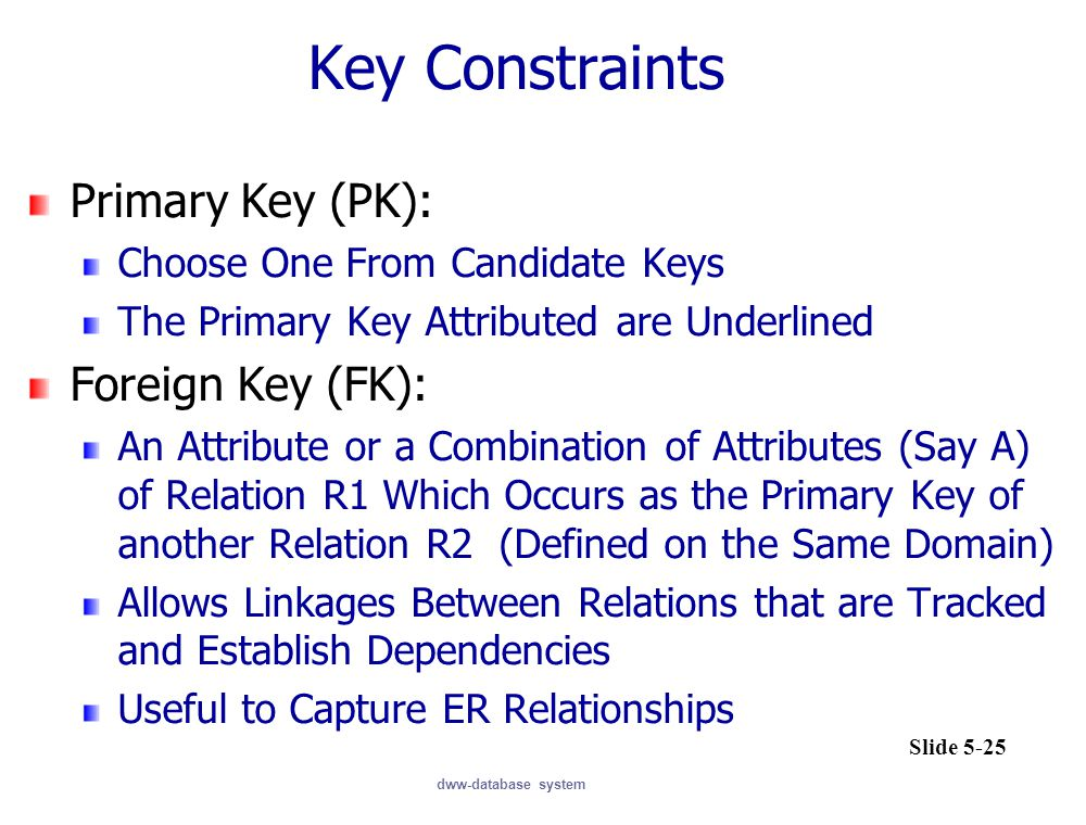 Key Constraints Primary Key (PK): Foreign Key (FK):